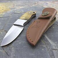 """5"""" ELK RIDGE FIXED BLADE SKINNING KNIFE WOOD HANDLE w/ LEATHER SHEATH Skinner"""