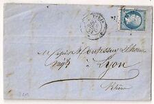 N° 14 BAS DE FEUILLE TYPE II,  J PARIS J SUR LETTRE COVER FRANCE 1862.  L221