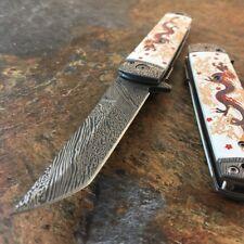 "8"" Dragon Tanto Damascus Sword Spring Assisted Open Folding Pocket Knife Katana"