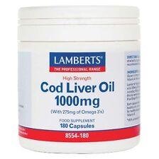 Lamberts Cod Liver Oil 1000mg   High Strength Omega-3 Food Supplement - 180 Caps