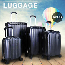 843f6daabe9b New 4 Piece Travel Spinner Luggage Set Bag ABS Trolley Carry On Suitcase  Black