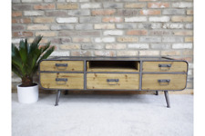 Industrial Wooden Low Cabinet / TV Unit Multi Drawer Retro Style Storage Chest