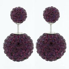 Shamballa stud earrings double sided 14mm & 8mm purple crystal beads silver