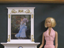 """FIREPLACE OVERMANTLE  ~ for 16"""" Doll ~ White/Gold Detail ~ 1:4 scale"""