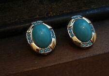 Vintage Turquoise and Gold Oval Clip Earrings