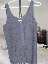 JCREW FACTORY SMOKY CHARCOAL GRAY LACE OVER TANK STYLE# 64887 NWT MEDIUM