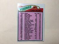 1977 TOPPS FOOTBALL CHECKLIST / TEAM LEADER STAT CARD MINNESOTA VIKINGS #215