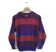 YSL Yves Saint Laurent Sweater 40 Red Purple Stripe Hoodie Wool Pullover VTG