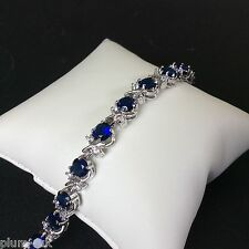 "GB Blue sapphire & cz 7""  tennis bracelet silver (white gold gf) BOXED Plum UK"