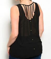 Size XL TANK TOP SHIRT Womens Plus BLACK Vertical Back Straps ZENOBIA 1XL New