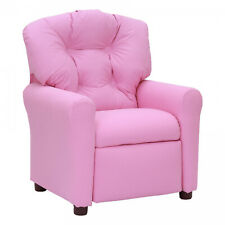 Kids Traditional Microfiber Cute Child Size Recliner Chair in Pink