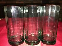 "3 VTG ANCHOR HOCKING ESSEX 6 3/8"" Tall 10 Panel Glass Tumbler 16oz Mist Green"