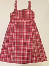 NWT Girl's OLIVE JUICE Red White & Blue PLAID Dress Lined Cotton Size 12 retro