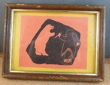 Vintage Inuit Eskimo Man Black Print Silhouette Framed Art Picture Polar Bear #4