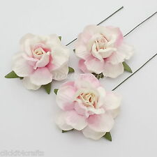 25 Mulberry Paper Flowers Pink Wedding Favour Rose Headpiece Scrapbooking R40-42