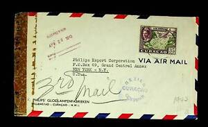 CURACAO 1943 35c ON WWII CENSORED A/M COVER FROM PHILIPS LIGHT BULB CO. TO USA