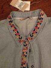 Cute embroidered sleeveless denim ladies shirt by TU. Size 10. BNWT RRP£16