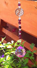 PURPLE AUSTRIAN CRYSTAL HANGING SUNCATCHER With FLOWER OF LIFE And Crystal Beads