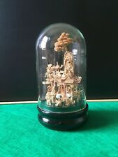 More details for vintage chinese cork diorama with glass dome cover and wood base in original box