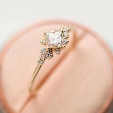 Dazzling Princess Cut White Sapphire 18K Rose Gold Ring Wedding Jewelry Size 9