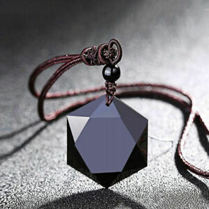 High Quality Black Hexagram Obsidian Pendant Necklace Sweater Chain Chocker