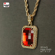 """Mens Hip Hop Gold Plated Red Ruby Pendant With 30"""" 5mm Rope Chain Necklace Set"""