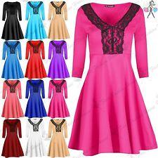Polyester V Neck Skater Dresses for Women