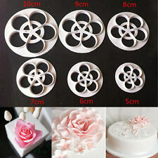 6PC Fondant Mold Cake Sugarcraft Rose Flower Decorating Cookie Paste Cutter Tool