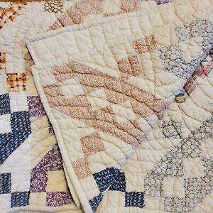 Vintage Handmade Hand Sewn Quilt Multi Color Geometric Design 72x58 Inch