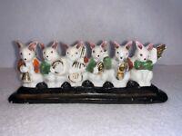 Vintage Rabbits w Music Instruments, Ceramic/Porcelain, GoldAccents  Japan  Rare