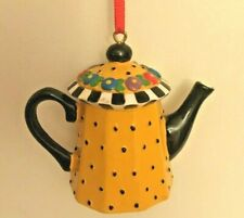 Mary Engelbreit Me - Teapot Yellow Polka Dot Tea Pot Christmas Ornament
