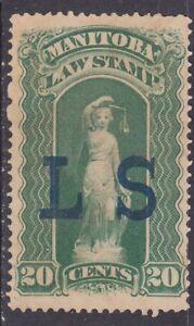 "Canada ML2 Un-Canceled ""L S"" 1877 20¢ Manitoba Law Stamp Issue"