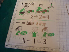 vintage 1950's Instructor kindergarden number POSTER #11 add and take away