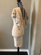 RONNY KOBO DRESS S Light Beige Fitted Open Back Ruffled Sexy  Designer