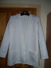 Very pale cream edge to edge unlined long jacket, size14 NWOT-see details