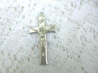 "Vintage INRI Crucifix Cross Pendant 2 3/4""  by 15/16""  Metal   No Chain  Estate"