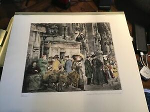 """Large 1925 hand colored ETCHING """"Paris"""" by Paul Geissler * Watch Clock Maker"""