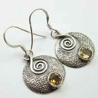 Round Shape 5 x 5 mm Facetted Citrine Dangle Earrings 925 Pure Silver