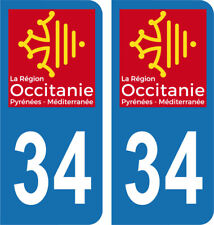 Département 34 - 2 autocollants style immatriculation AUTO PLAQUE OCCITANIE 2018