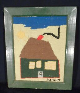 VINTAGE MID CENTURY NEEDLEWORK PICTURE OF CROOKED HOUSE
