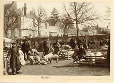 France, Le Marché, ca.1900, vintage silver print Vintage silver print, mounted &