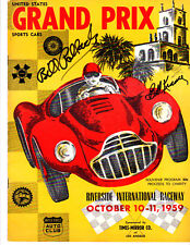 Riverside Times Grand Prix 1959 Program - Autographed