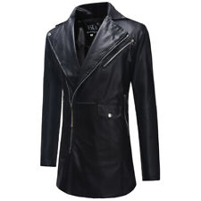Men's Faux Leather Jacket Windbreaker Trench Coat Slim Fit Mid Length Outwear L