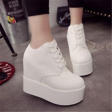 UK Women Shoes High Wedge Heel Lace up Platform Sneakers Hidden Heel Shoe Brouge