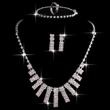Luxurious Jewelry Crystal Necklace Earrings Frontal for Bride Jewelry Sets Shan