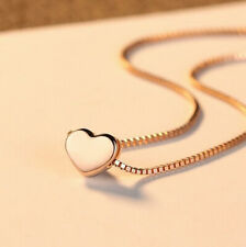 Rose Gold Heart Charm Pendant 925 Sterling Silver Chain Necklace Women Jewellery