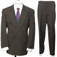 42R Vtg DOUBLE BREASTED Brown Birdseye Wool Two-Piece SUIT Blazer Jacket Pants L