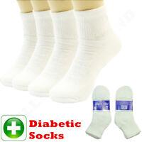 3,6,12 Pairs Lot For Men's White Circulatory Diabetic Ankle Quarter Socks 9-15