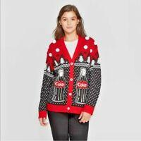 Coca Cola Womens Christmas Cardigan Polar Bear Black Red Sweater Sz M