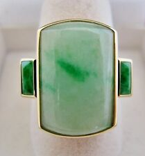 14K Gold Ring with 19.5mm A Grade Celadon & Green JADEITE Jade  (7.4g, size 7)